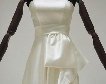 Off White A-line Wedding Dress | Ivory Drapery Wedding Dress | Strapless Satin Wedding Gown with Asymmetric Skirt