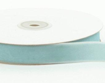 Velvet Woven Ribbon - Light Blue - 3/4 inch  - You Choose Yards