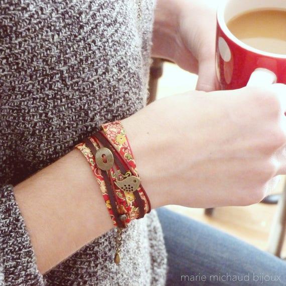 Liberty bracelet, Wrap bracelet, Double wrap bracelet, Free shipping, Cuff bracelet, Liberty jewelry, Colorful bracelet, Red bracelet