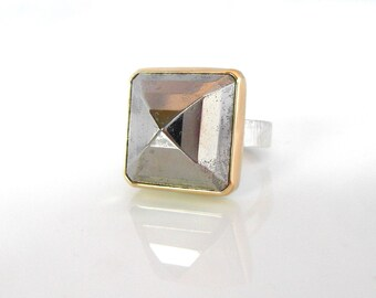 Pyrite PYRAMID Ring | Ready to Ship | Handmade Pyrite Statement Cocktail Ring with Silver and 14k Gold