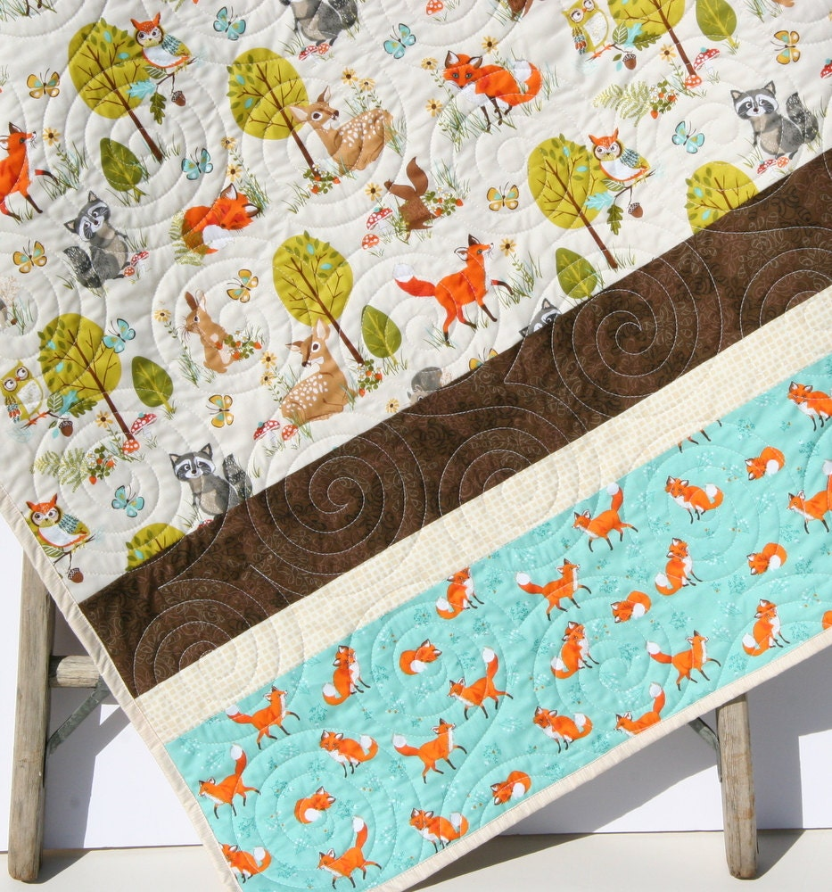 Baby Fox Blankets Woodland Baby Quilt Toddler Animals