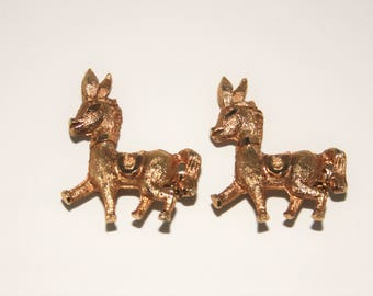 Gold Burro Brooch Pins Donkey Brooches