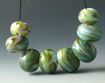 Lampwork beads/SRA lampwork/beads/blue/green/moss/