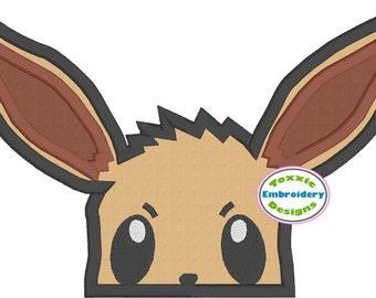 Eevee Pokemon Peeker Applique Machine Embroidery Design 5x7