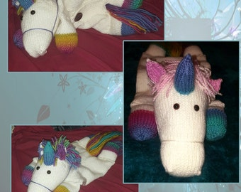 Hand Knitted Unicorn Pyjama Case