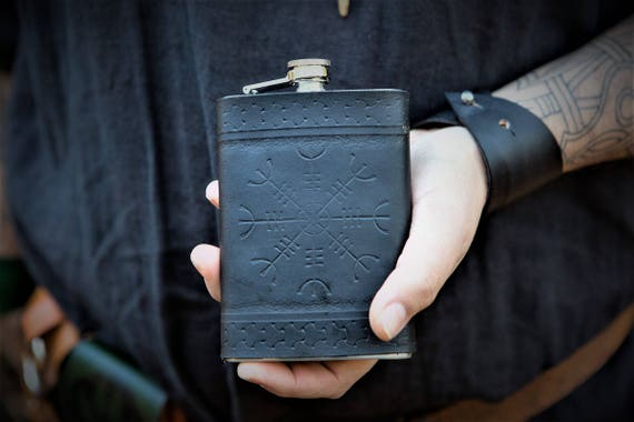 Viking Leather Flask - Ægishjálmr Helm of Awe 8oz Flask - norse icelandic stave
