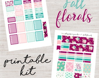 Fall Florals PRINTABLE Sticker Kit / Fits Erin Condren Vertical Life Planner