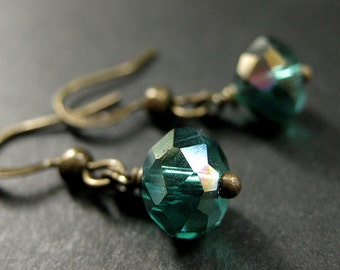 Teal Dangle Earrings. Crystal Earrings in Teal Green Glass and Bronze. Handmade Jewelry.