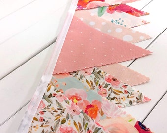 Watercolor Floral Fabric Banner Baby Girl Nursery Decor Fabric Bunting Nursery Bunting Indy Bloom Blush Pink Mint Flowers