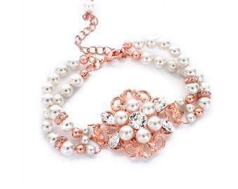 Rose Gold wedding bracelet, pearl bridal bracelet, pearl wedding jewelry, Swarovski crystal bracelet, vintage style jewelry,vintage bracelet