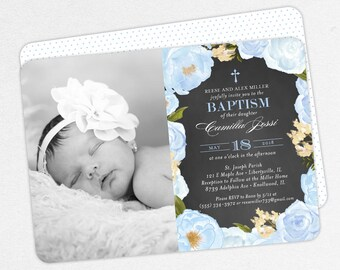 Photo Baptism Invitation, Christening Invitation, Girl Baptism Invitation, Printable, Watercolor Flowers, Chalkboard, PDF, Blue, Camilla