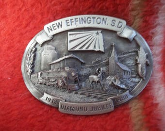 Vintage Belt Buckle---New Effington,S.D. Diamond Jubilee 1913-1988 Limited Edition 140 of 250