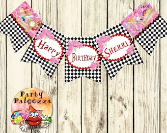 Printable Personalized Alice in Wonderland Birthday Banner