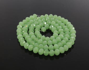 20 beads glass Abacus faceted green 6 x 4mm LP00190