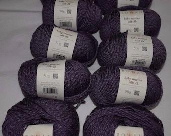 10X50g Rowan Baby Merino Silk DK  701 Aubergine Merino Superwash Wool / Tussah Silk Knitting Wool Yarn