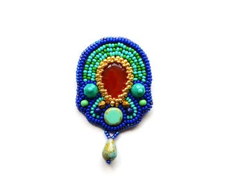 Bead Embroidered brooch Egyptian pin brooch Agate brooch Turquoise red brooch Beadwork pin brooch OOAK Bead Embroidery Jewelry Gift for mom