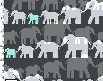 Elephant Herd on Stone Grey from Michael Miller's Trekking Collection