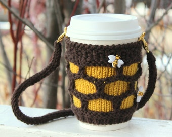 Coffee cozy with lanyard. Hands-free carrying cup sling. Bumble bees hive honey. Cup sleeve. Travel mug cozy. Coworker gift. Gift idea