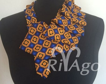 Tie necklace in blue and gold