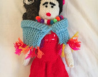 Knitted Frida Kahlo Doll