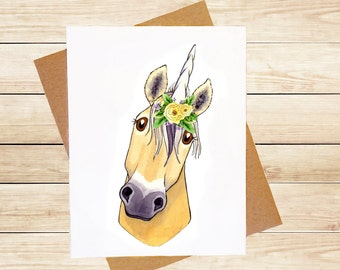Unicorn Card Fjord Horse Cute Animal Card Horse Lover Card