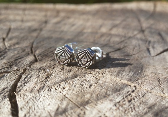 Polygons - Recycled Sterling Silver Sacred Geometry Stud Earrings - Contemporary Post Earrings