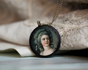 decoupage pendant cameo necklace, vintage inspired Victorian woman pendant