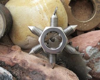 Punk goth steampunk metal art handmade pendant necklace