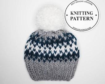 Fair Isle Hat, Knit Hat, Women's Knit Hat, Winter Hat, Knit Hat, Chunky Knit Hat, Fair Isle Knit Hat With Pom Pom / Instant PDF Download