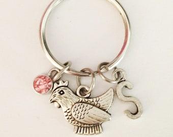 Chicken keychain - personalized keychain - initial keychain - friendship keychain - best friend gift - Christmas gift