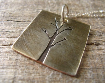 Copper sterling silver tree pendant necklace