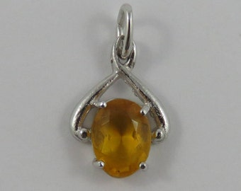 Yellow November Birthstone Sterling Silver Vintage Charm For Bracelet