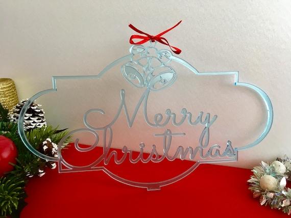 Merry Christmas Sign Jingle Bells Christmas Housewarming Gift Custom Family Name Door Sign Personalized Monogram Xmas sign Hanging ornament
