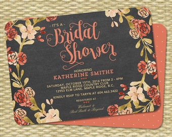 Fall bridal shower invitation bridal shower invitation fall fall bridal shower invitation chalkboard watercolor floral peach blush orange coral wedding shower couples shower any event filmwisefo