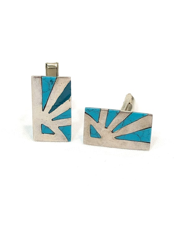 Taxco Cuff Links, Sterling Silver Inlaid Turquoise, Rectangular Geometric Sun Ray Motif, Stamped JVM, Vintage Mid Century Mens Jewelry AS IS