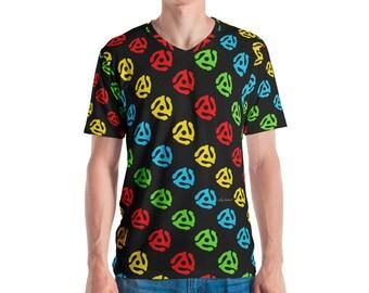 45 Spindle Adapter Allover Print V Neck Men's T-shirt