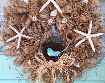 Beach-a-licious! Burlap wreath