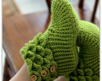 CROCHET PATTERN: Dragon Slippers Crocodile Stitch Boots (Adult Sizes) - Permission to Sell Finished Product