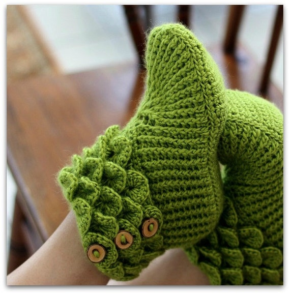 Crochet Pattern Dragon Slippers Crocodile Stitch Boots Adult