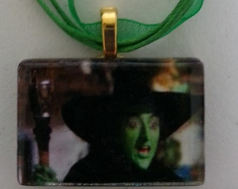 "Wizard of Oz  Choose -  Wicked Witch Glenda or Dorothy Glass Neckace 18"" ribbon cabochon"