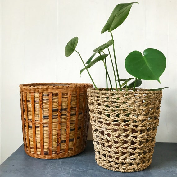 bamboo plant baskets - round brown rattan planters - boho woven home storage