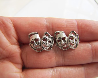 Detail Theater Mask Face Sterling Silver Stud Earrings