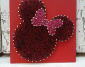 Cadena hecha a mano arte, Nail Art, signo, Minnie Mouse, decoración de la pared.