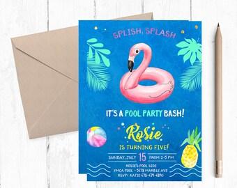 Flamingo Pool Party Invitation, Flamingo Pool Party Invitations, Flamingo Summer Invitations, Flamingo Pool invites, Flamingo Pool invite,