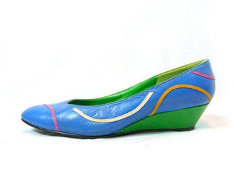 Color Block Wedge Slip On Women's Shoes Size 8 PALTER DeLISO Leather Flats Colorblock Wedgie Heels Turquoise & Green Ladies Sandals