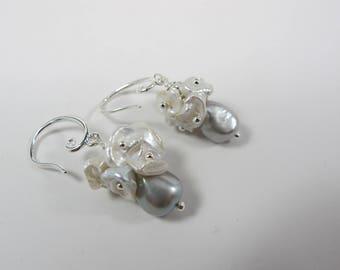 Baroque pearl earrings, statement earrings, earrings, gray pearl earrings, keshi pearl earrings