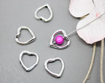 Silver bead heart 14 mm - SC07788 setting 10-