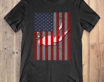 Scuba Diving T-Shirt Gift: American Flag