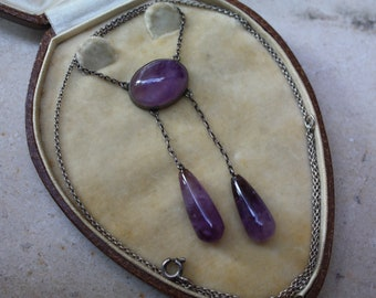 c1900 Art Nouveau amethyst and sterling silver negligee lavalier necklace -wonderful!