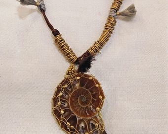 Fossil wrapped necklace